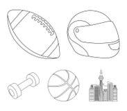 Capacete protetor vermelho, bola de rugby, bola do basquetebol, pesos Os ícones ajustados da coleção do esporte no estilo do esbo Imagem de Stock