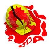 Capacete quebrado no sangue Foto de Stock Royalty Free