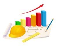 Capacete, régua e gráfico crescente no plano da casa Imagens de Stock