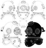 Capacete retro velho do mergulho no vetor branco do fundo ilustração stock