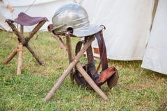 Capacete romano do ferro fotografia de stock royalty free