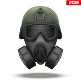 Capacete tático militar com máscara de gás ilustração royalty free