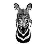 Capacete vestindo da motocicleta do cavalo da zebra, ilustração do capacete do aviador para o t-shirt, remendo, logotipo, crachá, Fotografia de Stock