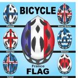 Capacetes da bicicleta dos ícones e países das bandeiras Imagens de Stock