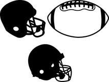 Capacetes de futebol e clipart da bola Imagem de Stock Royalty Free