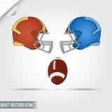 Capacetes do jogo de futebol americano e bola, equipes Imagem de Stock Royalty Free
