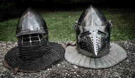 Capacetes medievais fotos de stock