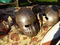 Capacetes medievais Imagens de Stock
