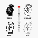capacidade, cabeça, ser humano, conhecimento, ícone da habilidade na linha e no estilo finos, regulares, corajosos do Glyph Ilust ilustração stock