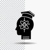 capacidade, cabeça, ser humano, conhecimento, ícone do Glyph da habilidade no fundo transparente ?cone preto ilustração do vetor