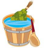 Capacidade com água e vassoura para o banco ilustração royalty free
