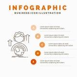 capacidades, desenvolvimento, molde f?mea, global, em linha de Infographics para o Web site e apresenta??o Linha ?cone cinzento c ilustração stock
