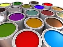Capacidades metálicas con la pintura Imagen de archivo