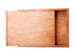 Capacious wooden box for packaging storage isolated on a white background. Container made of natural wood. Wooden box. Royalty Free Stock Images