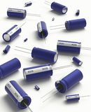Capacitor. 3D realistic render of blue group capacitors on white background with shadow Royalty Free Stock Images