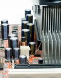 Capacitor on Mainboard Computer Stock Image