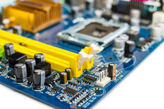 Capacitor on motherboard Stock Photography