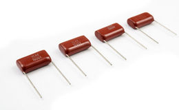 Capacitors. Capacitor stripe on white background stock image