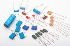 Capacitors. Various capacitors royalty free stock photography