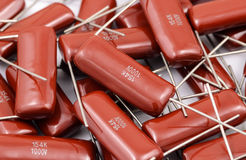 Capacitors Batch. Capacitor batch on white background stock photos