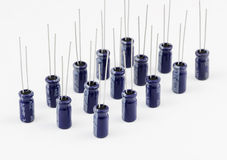 Capacitors. Electrolytic. Electrolytic capacitors on white background royalty free stock images