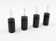 Capacitors. Electrolytic. Electrolytic capacitors on white background Stock Photo