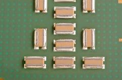 Capacitors on Modern CPU Stock Image