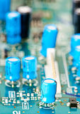Capacitors on a motherboard Royalty Free Stock Image