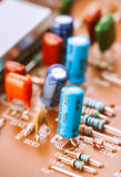Capacitors, resistors and other electronic components Stock Photos