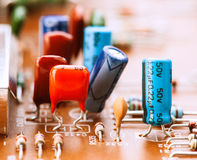 Capacitors, resistors and other electronic components Stock Photography