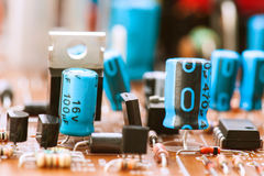 Capacitors, resistors and other electronic components Royalty Free Stock Images
