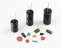 Capacitors. Various Kinds Royalty Free Stock Photography