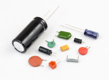 Capacitors. Various Kinds Royalty Free Stock Photo