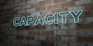 CAPACITY - Glowing Neon Sign on stonework wall - 3D rendered royalty free stock illustration Royalty Free Stock Image