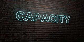 CAPACITY -Realistic Neon Sign on Brick Wall background - 3D rendered royalty free stock image Royalty Free Stock Image
