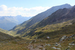 Capanna alpina Eisseehutte e panorama della montagna, alpi di Hohe Tauern, Austria Fotografia Stock Libera da Diritti