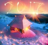 Capanna alpina per il Natale Fotografia Stock