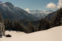 Capanna del rifugio della montagna coperta di neve in alpi Fotografia Stock