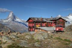 Capanna della montagna di Fluhalp, Zermatt, Svizzera Fotografia Stock Libera da Diritti