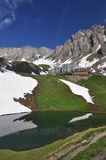 Capanna della montagna di Frassati, alpi italiane, la valle d'Aosta. Immagini Stock