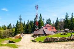 Capanna della montagna di Kamienczyk vicino a Szklarska Poreba, Karkonosze, montagne giganti, Polonia fotografia stock