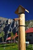Capanna della montagna di Pramosio nelle alpi di Carnia Friuli, Italia Fotografia Stock Libera da Diritti