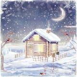 Capanna della montagna nella scena di inverno royalty illustrazione gratis