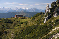 Capanna della montagna nelle alpi austriache Fotografie Stock Libere da Diritti