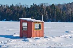 Capanna della pesca sul ghiaccio Immagine Stock Libera da Diritti