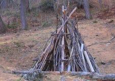 Capanna di legno nella foresta Fotografia Stock