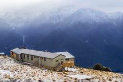 Capanna di Luxmore, pista di Kepler, parco nazionale di Fiordland, Nuova Zelanda immagine stock libera da diritti