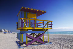 Capanna iconica del bagnino, spiaggia del sud, Miami Fotografia Stock