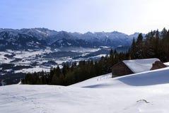 Capanna in inverno in Baviera Fotografie Stock Libere da Diritti