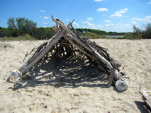 Capanna tropicale della spiaggia Fotografie Stock